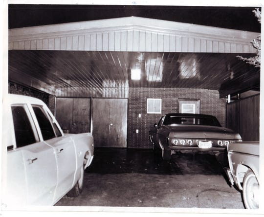 The carport of the home of Harry and Rose Busch is pictured on the night of the murder.