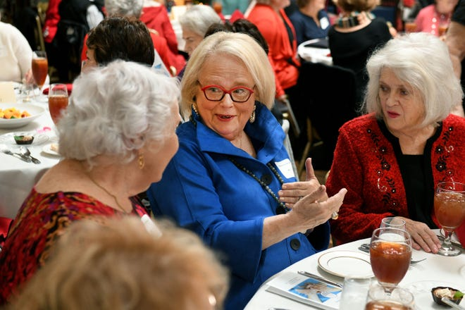 Carol McGovern Bush, center, talking with classmates as St. Mary's School of Nursing held an all classes reunion Monday, Dec. 17, 2018 at Kitchen 919. Faculty and students from 1951-1987 met for what they were calling Homecoming 2018.