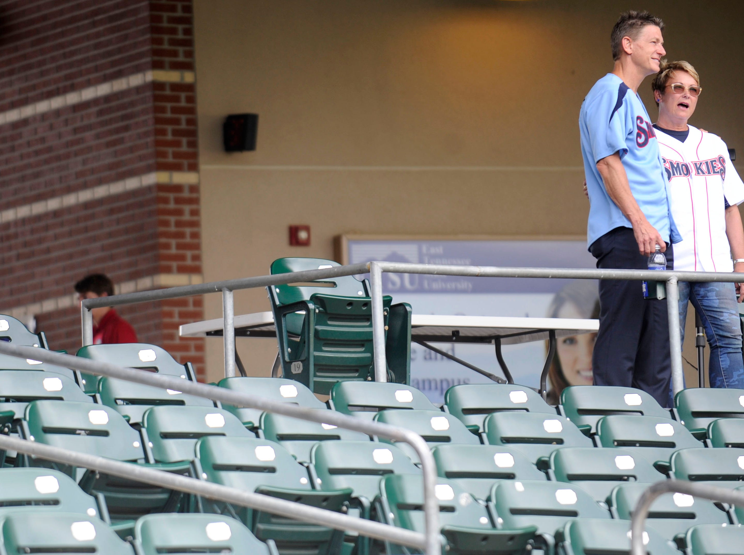 Randy Boyd, left, and his wife Jenny, were announced as the new owners of the minor league Tennessee Smokies baseball team during a press conference at the Kodak ball park, Friday, June 28, 2013.