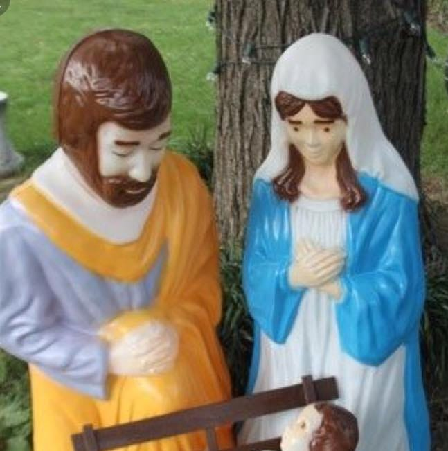 The baby Jesus figure was stolen from the...