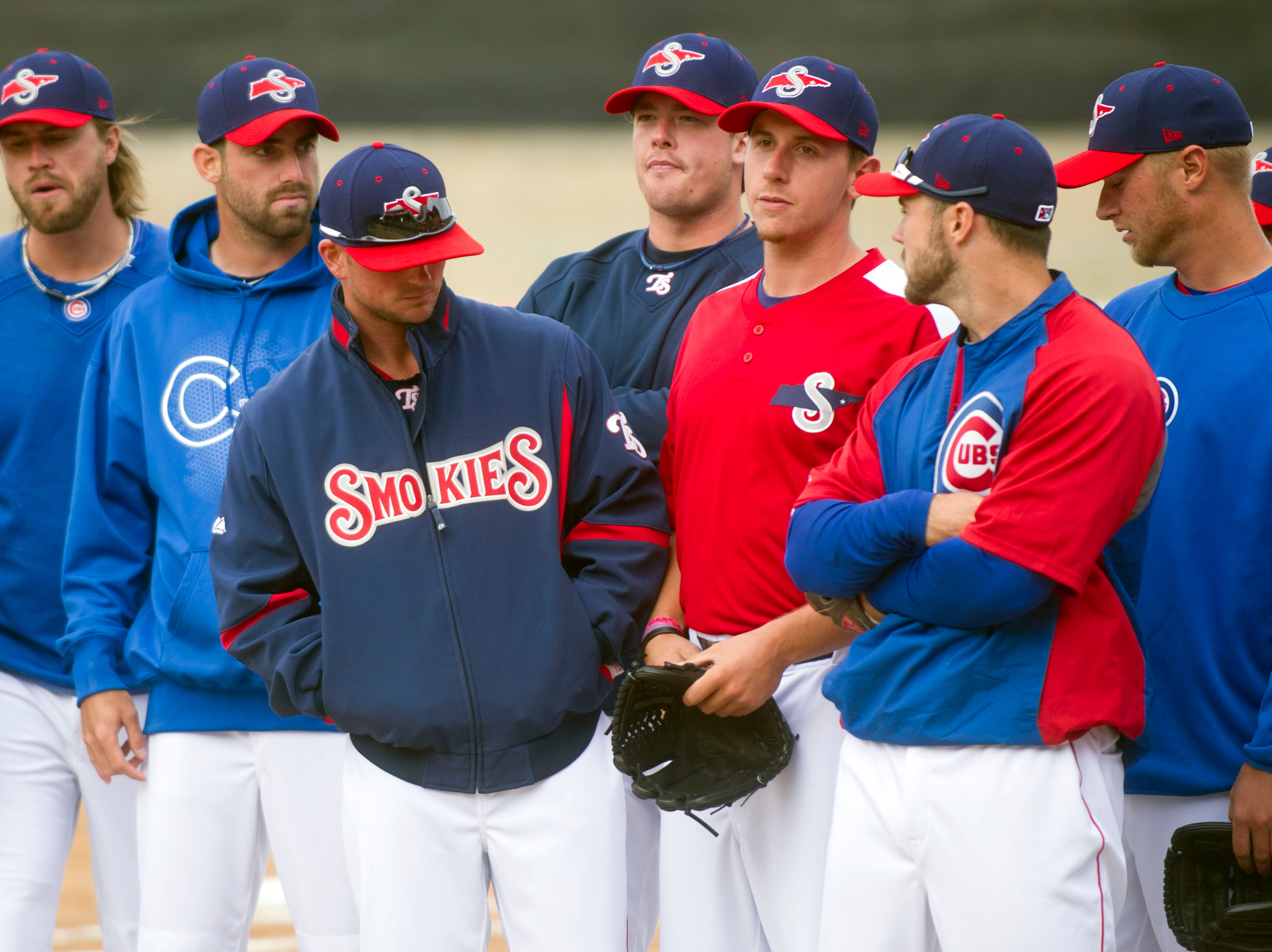 The Tennessee Smokies gather before the start of practice on  Tuesday, April 2, 2013.