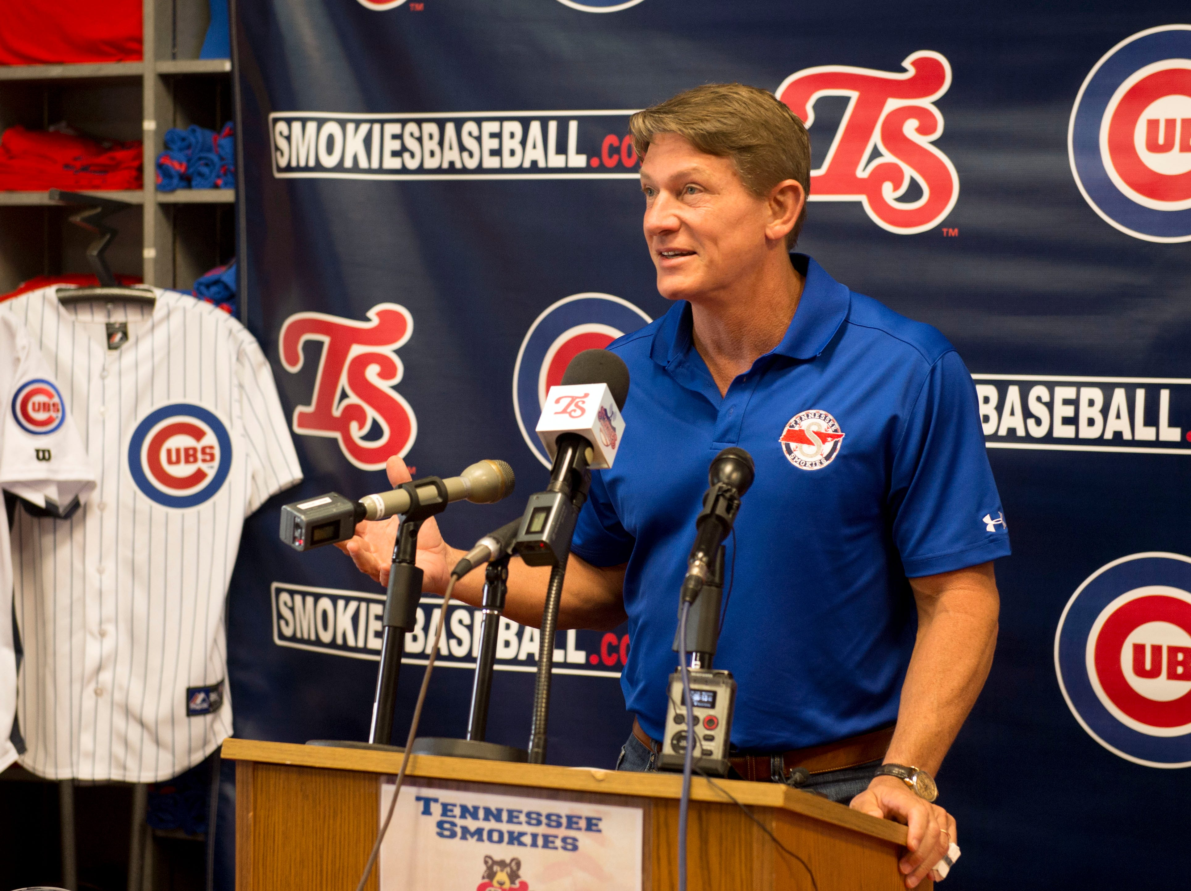 Tennessee Smokies owner Randy Boyd talks about the Smokies extending their partnership as the Double-A affiliate with the Chicago Cubs during a press conference at Smokies Park on Wednesday, June 11, 2014.