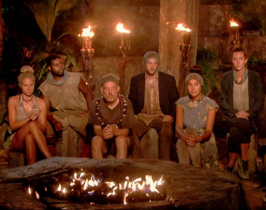 """The six players still competing on """"Survivor: David vs. Goliath"""" heading into the finale include, from left, Kara Kay, Davie Rickenbacker, Mike White, Nick Wilson, Angelina Keeley and Alison Raybould."""