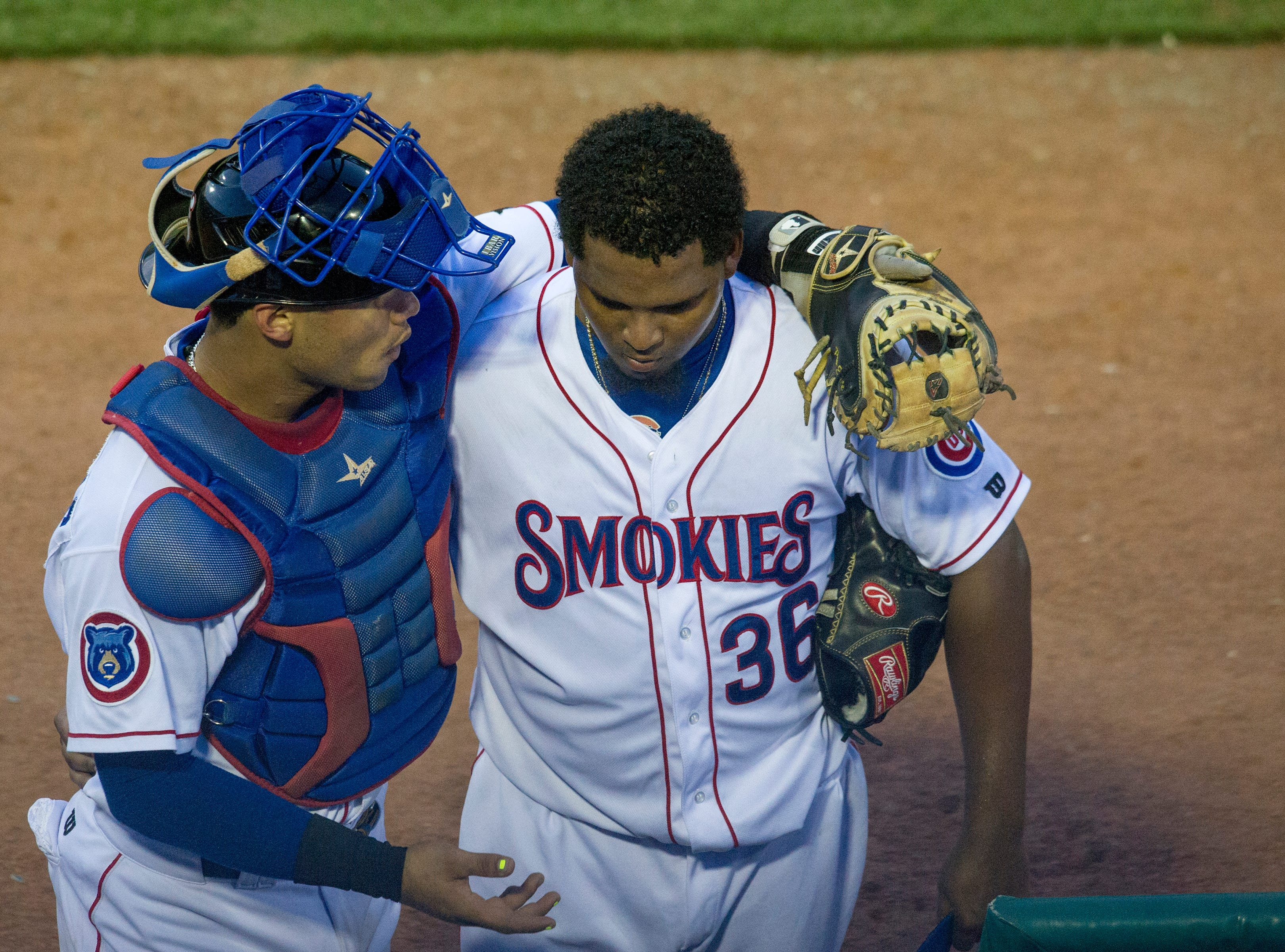 The Smokies catcher Willson Contreras (left) talks with pitcher Jeffry Antigua during the Tennessee Smokies versus the Jacksonville Suns baseball game at Smokies Stadium in Kodak Tuesday, Sep. 1, 2015. The team's final home game was fan appreciation themed.