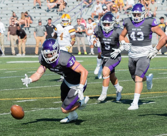 Brighton graduate Nick Brish (37) helped Mount Union return to the NCAA Division III championship game this year.