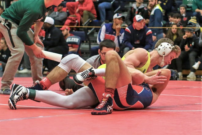 Tanner Culver (top) was one of five Hartland wrestlers to go 5-0 in the Hudsonville Invitational.