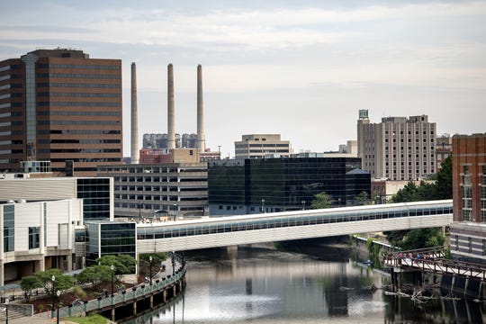 A view of the Grand River meandering through downtown Lansing on July 12, 2018.