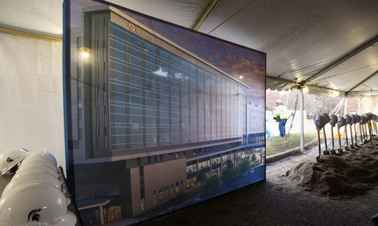 A rendering of McLaren's new health care center on display at the groundbreaking ceremony Monday, Dec. 17, 2018.  McLaren and MSU will explore additional partnerships to jointly deliver health care services and to pioneer advancements in medical research.
