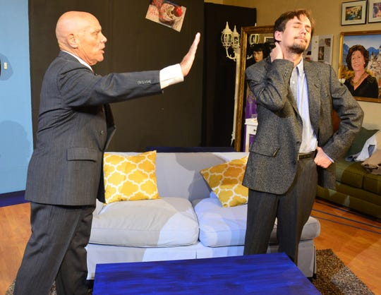 "Len Becker and Jesse Heindl in the Marco Players' production of ""Come Blow Your Horn."""