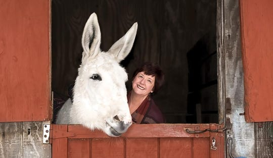 """Margaret Winslow, author of """"Smart Ass: How a Donkey Challenged Me to Accept His True Nature and Rediscover My Own,"""" with Caleb."""