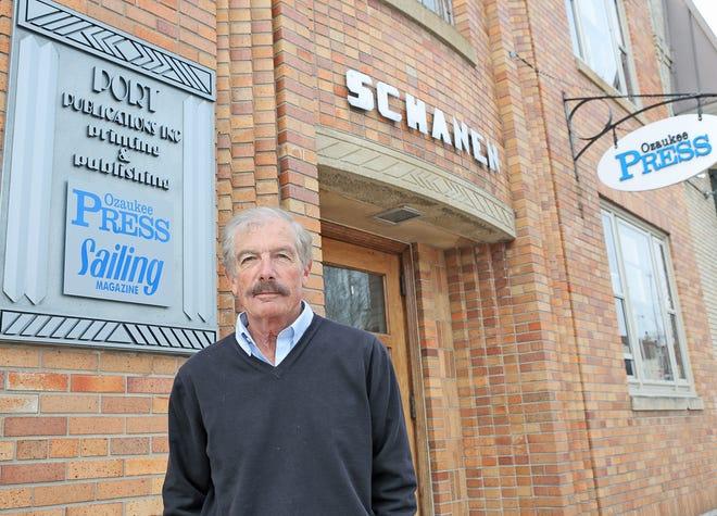 Bill Schanen III, publisher of Ozaukee Press, outside the newspaper's Port Washington office