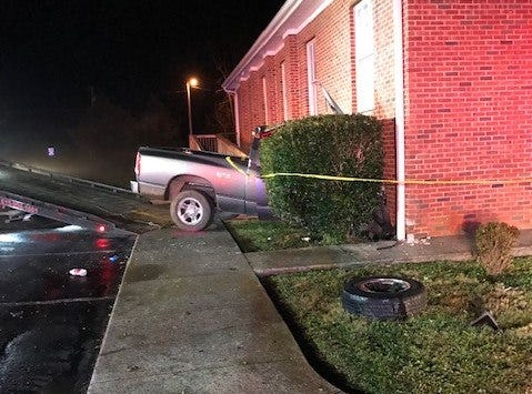 A pickup truck crashed into the side of Sharpsville Church of Christ on Halls Hill Pike. The church was unoccupied.