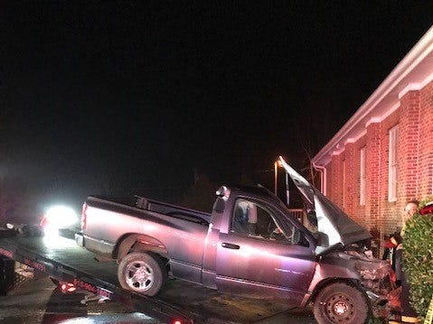 The driver of a pickup truck that crashed into Sharpsville Church of Christ in Rutherford County had to be extricated Dec. 16, 2018.