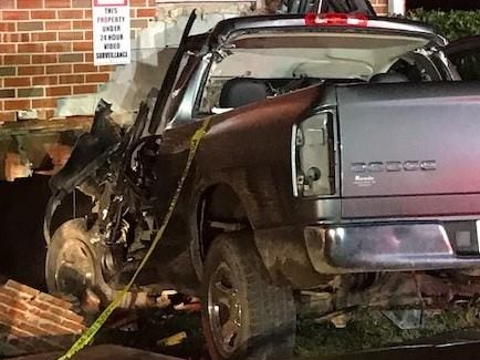 The driver of a pickup truck that crashed into the unoccupied Sharpsville Church of Christ was flown to Vanderbilt University Medical Center Sunday, Dec. 16, 2018, for major injuries.