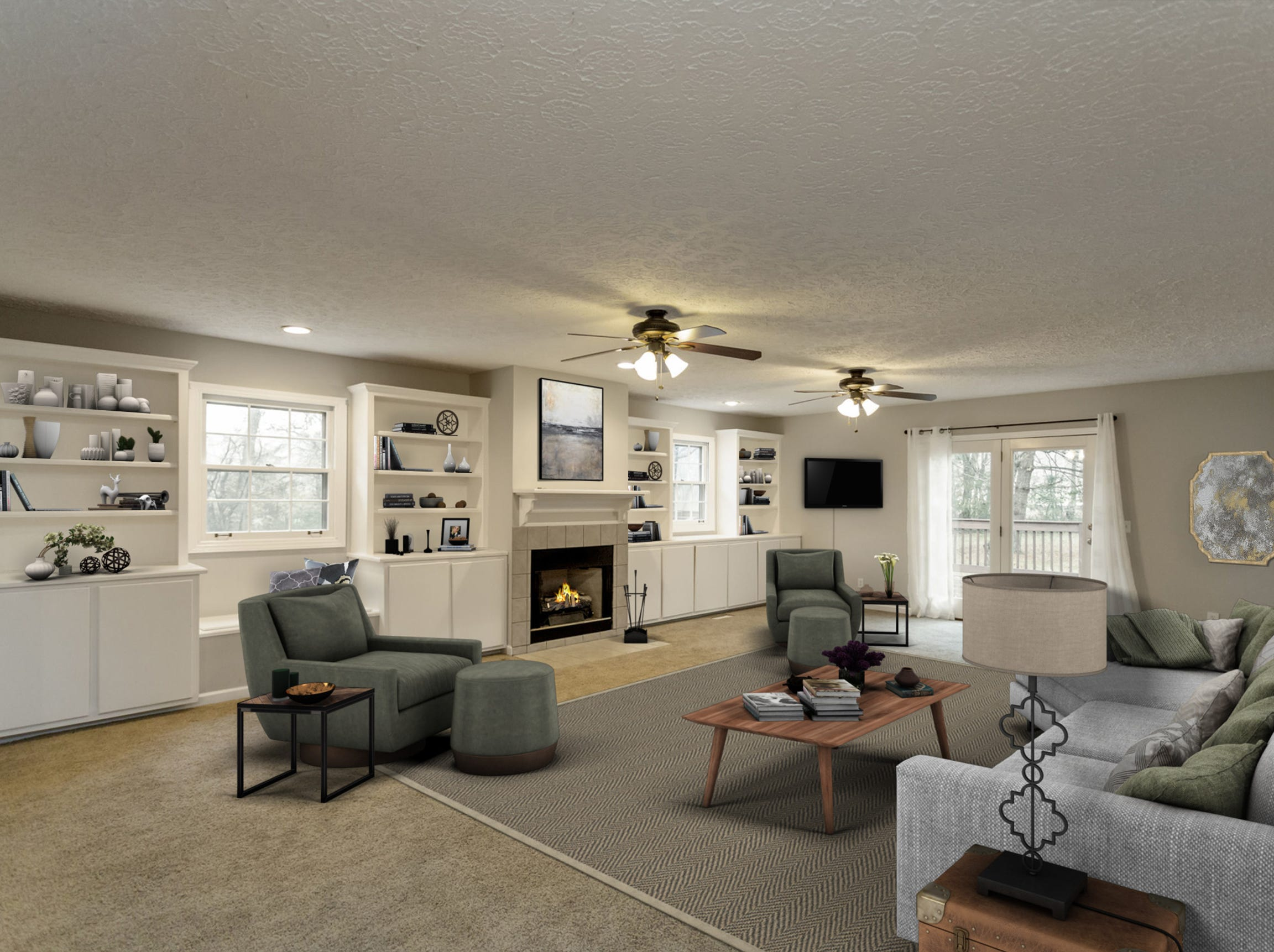 This photo shows the home's living space after virtual staging software was used to furnish the room. This gives home buyers a look at the room with furnishings in it.