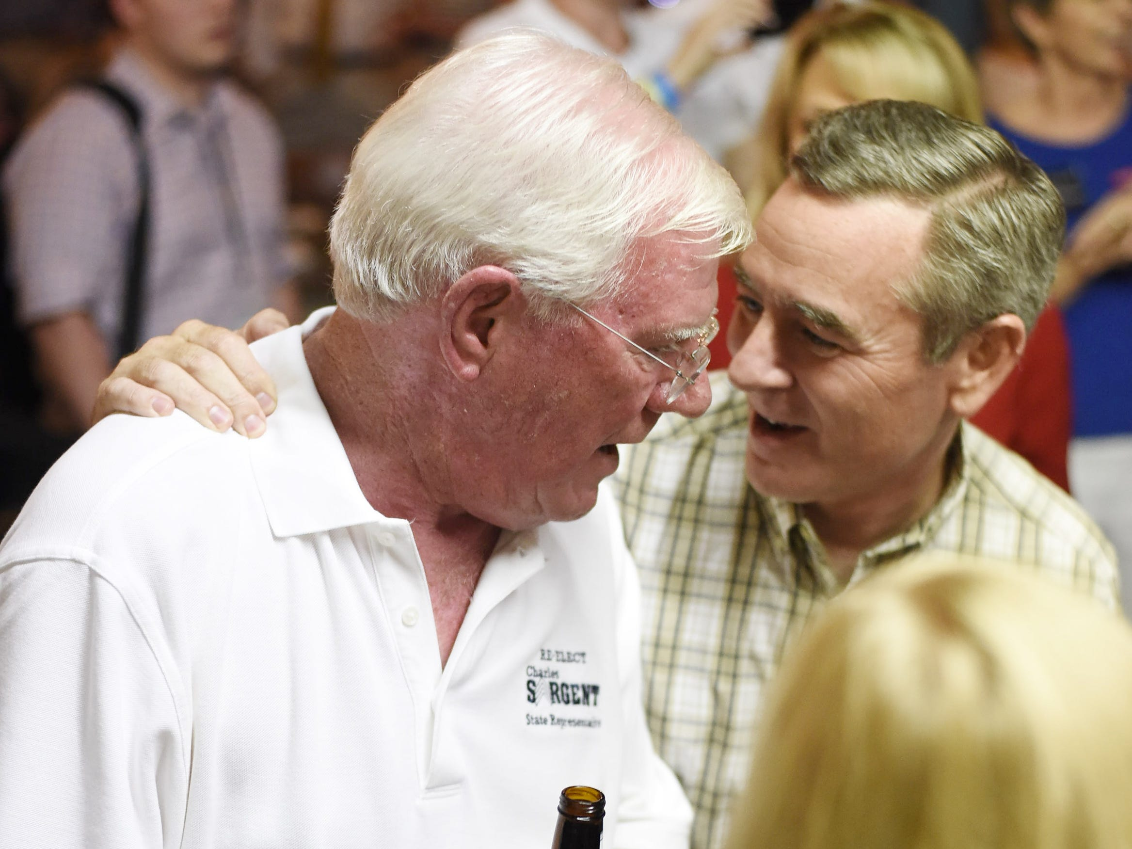 State Rep. Charles Sargent, left, is greeted by Rep. Glen Casada at Puckett's Grocery & Restaurant in Franklin on Aug. 4, 2016. Sargent won the race for District 61 in the GOP primary, and Casada won District 63 uncontested.