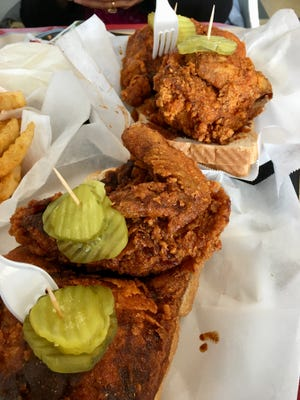 Hot chicken breast/wing plates at the original Prince's Hot Chicken Shack