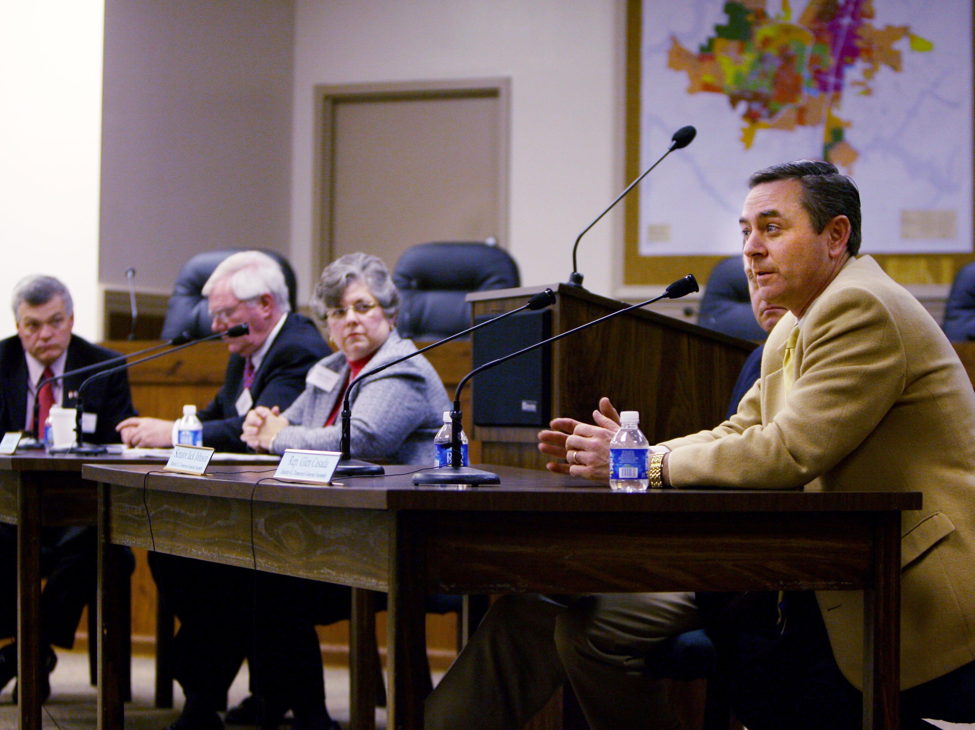 Rep. Glen Casada, right, speaks during a transportation summit at Franklin City Hall on March 7, 2008.