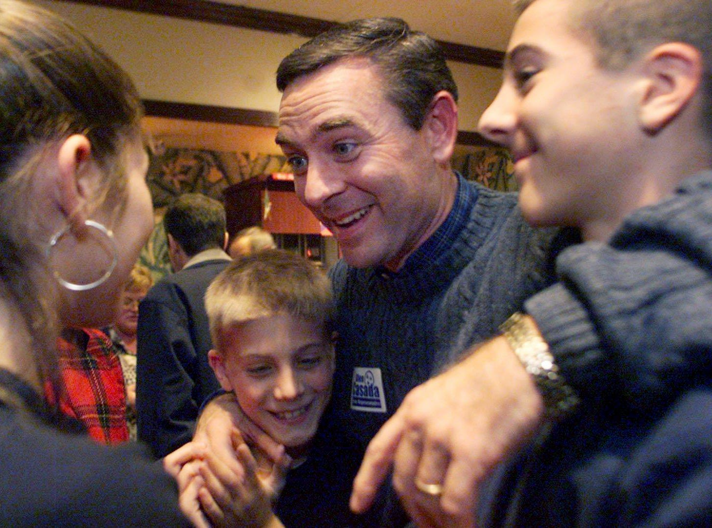 Glen Casada celebrates with his kids Emmaleigh, 12, Clark, 10, and Rich, 14, after winning the 63rd District seat in the state House of Representatives on Dec. 12, 2001.