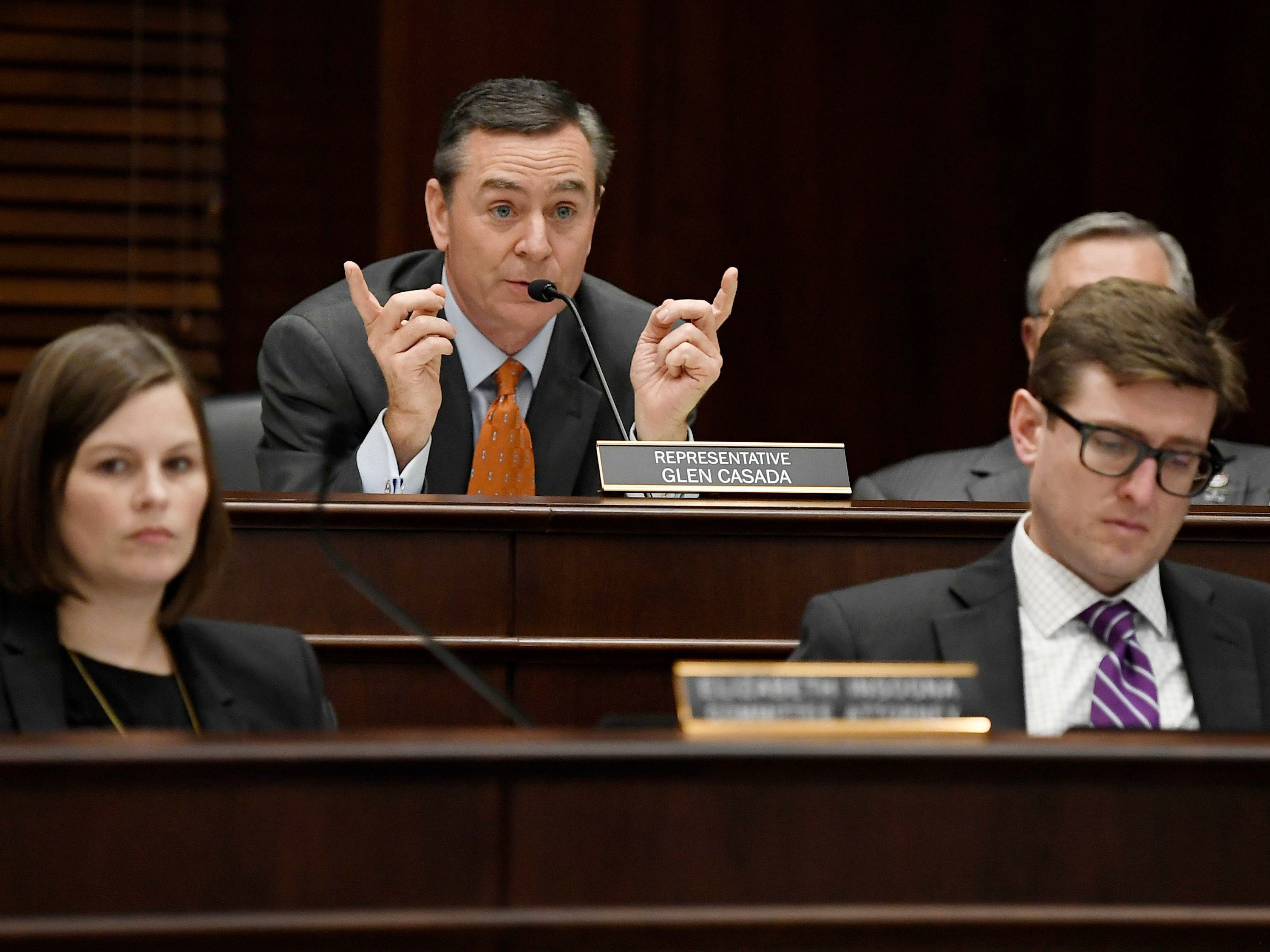 Rep. Glen Casada, top, speaks about a bill that would allow school employees to carry guns that is under consideration before the House Civil Justice Subcommittee on Feb. 28 2018, at the Cordell Hull Building.