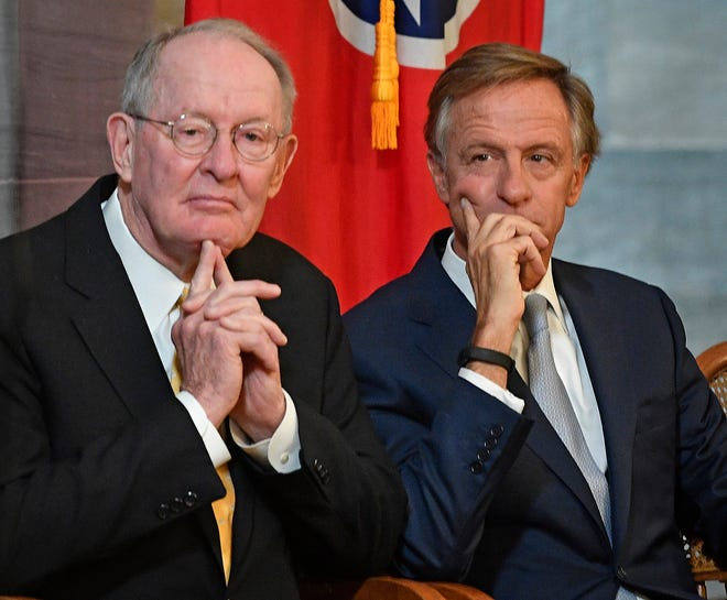 US Sen. Lamar Alexander joined Gov. Bill Haslam for the unveiling of his official portrait on Monday in Nashville.