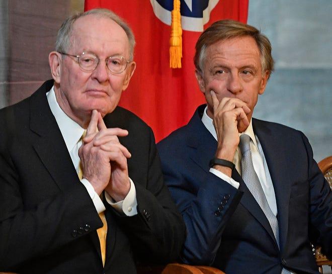 US Sen. Lamar Alexander joined Gov. Bill Haslam for the unveiling of his official portrait Monday Dec. 17, 2018, in Nashville, Tenn.