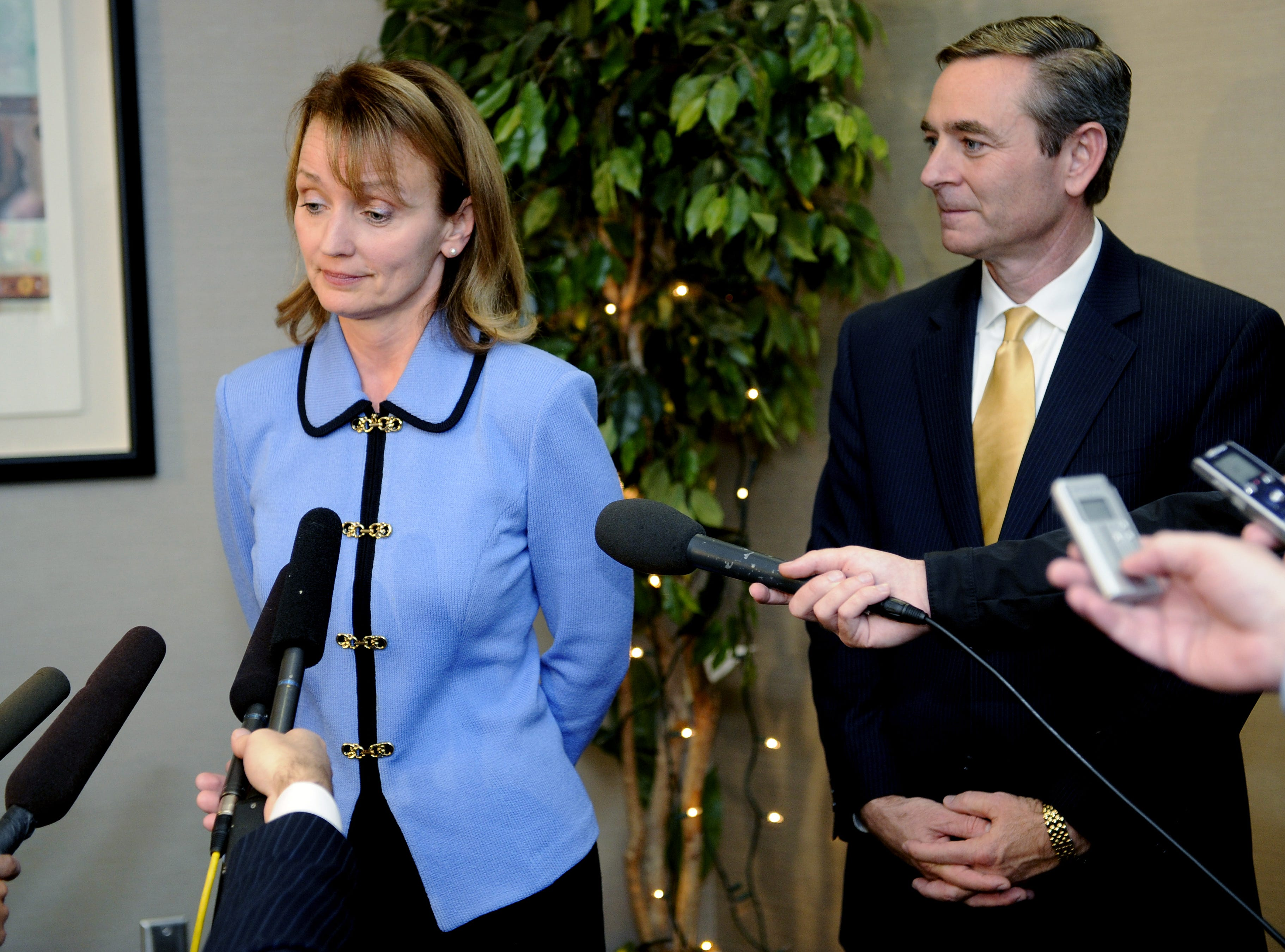 Rep. Beth Harwell, left, the newly elected House Republican nominee for speaker by the state House Republican caucus, talks with the media with House Republican Caucus Chairman Glen Casada looking on at the AT&T building in Nashville on Nov. 18, 2010.