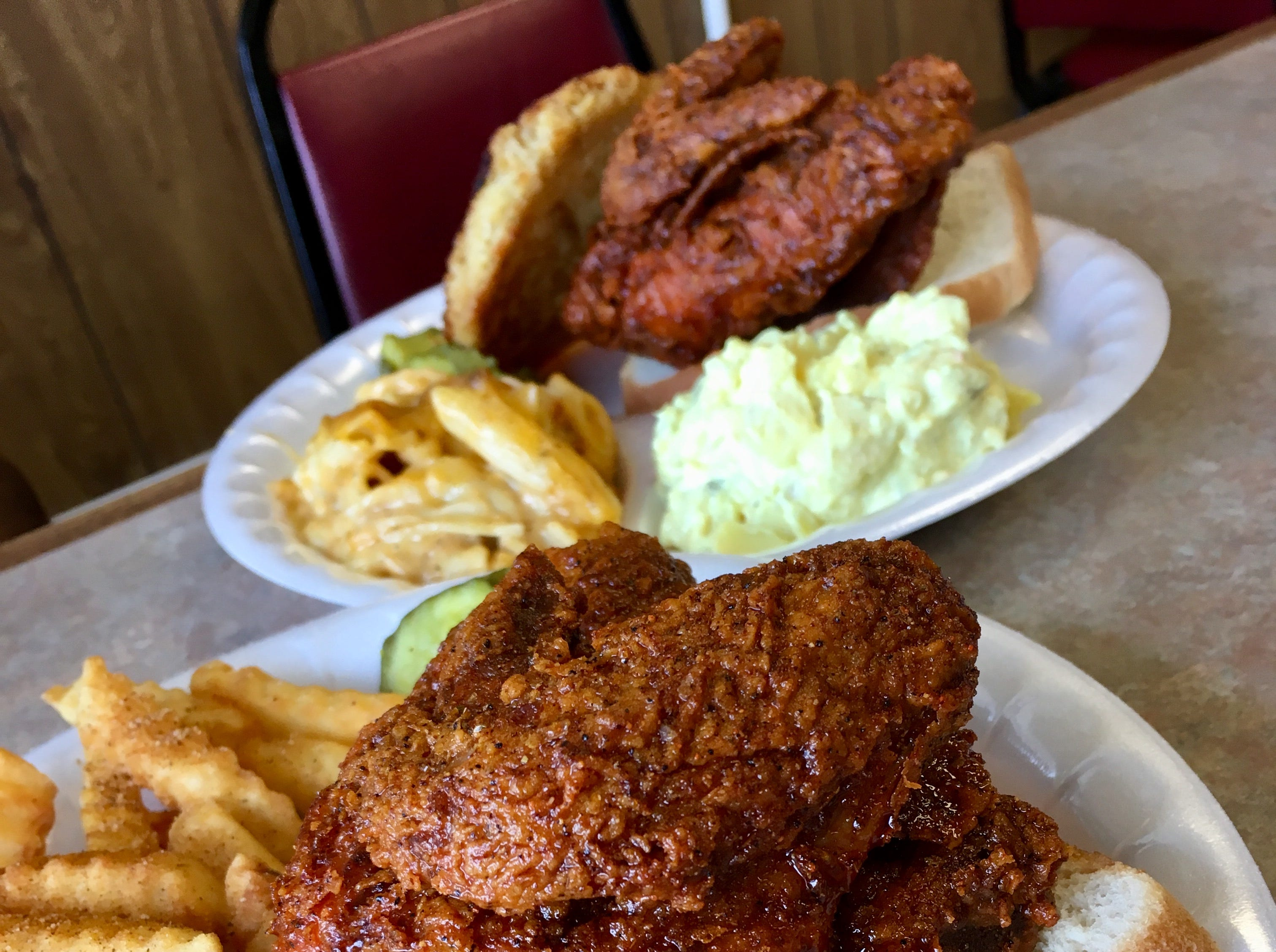 The hot chicken at Moore's Famous Fried Chicken in Hendersonville.