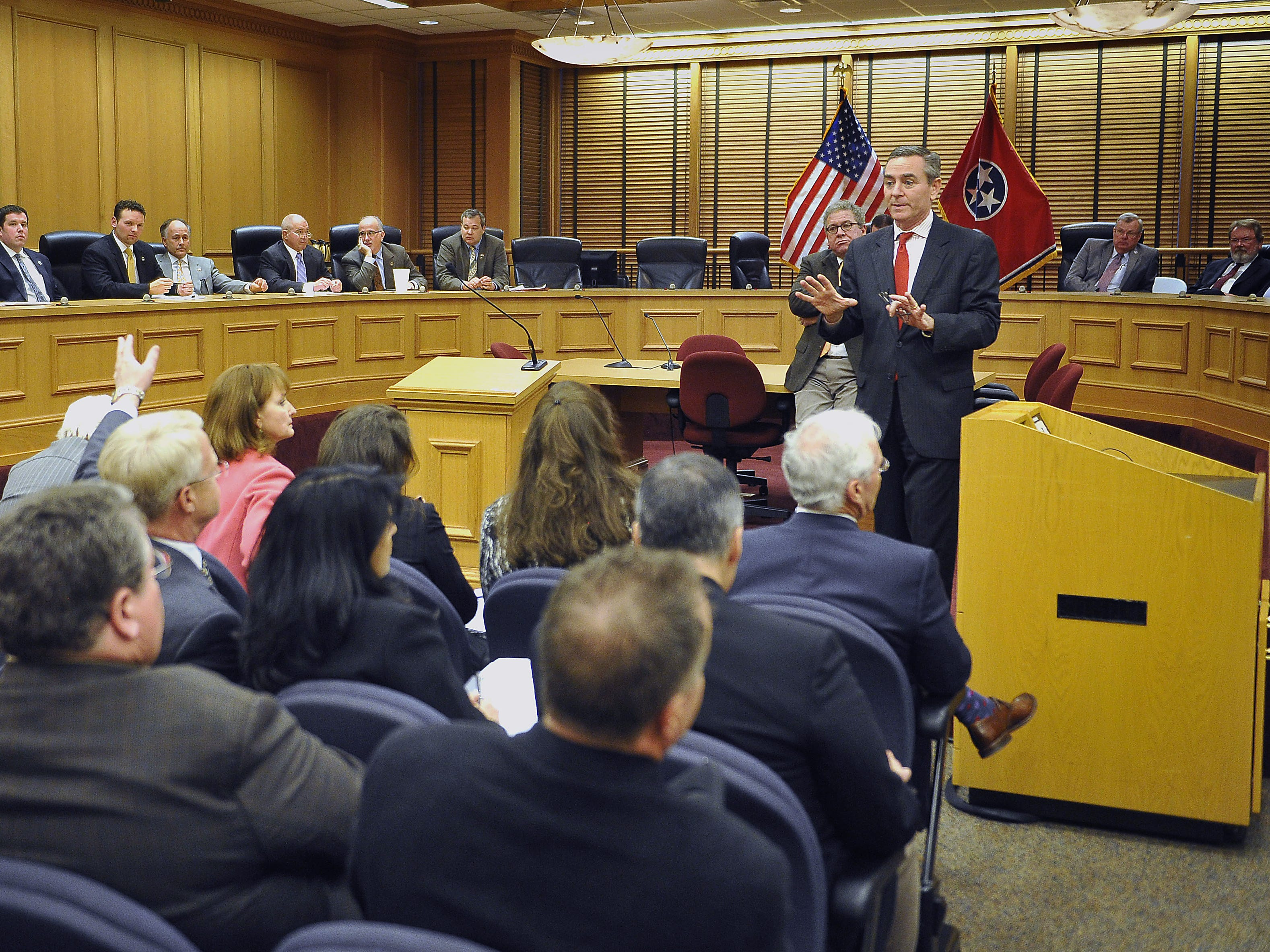 House GOP Caucus Chairman Glen Casada, R-Franklin, standing right, fills in other legislators about what was announced to the media earlier in the day about Rep. Jeremy Durham, R-Franklin, on Jan. 25, 2016.