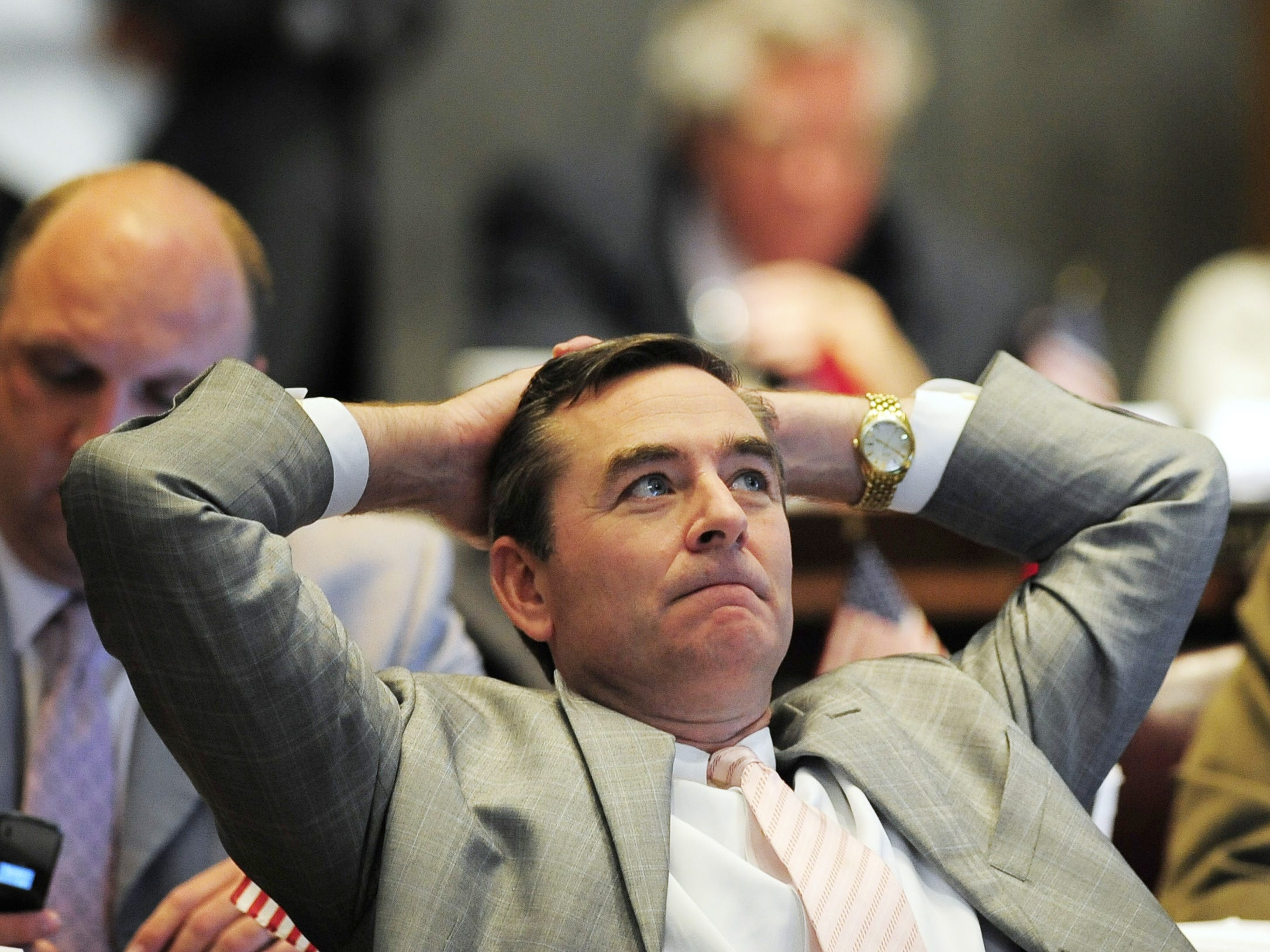 Rep. Glen Casada listens to debate on House Bill 130, which would end collective bargaining for public school teachers in the state, on May 19, 2011.