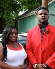 Vanderbilt football player Ke'Shawn Vaughn poses with his mother, Tameka Dennis. Vaughn was a record-breaking running back at Pearl-Cohn High.