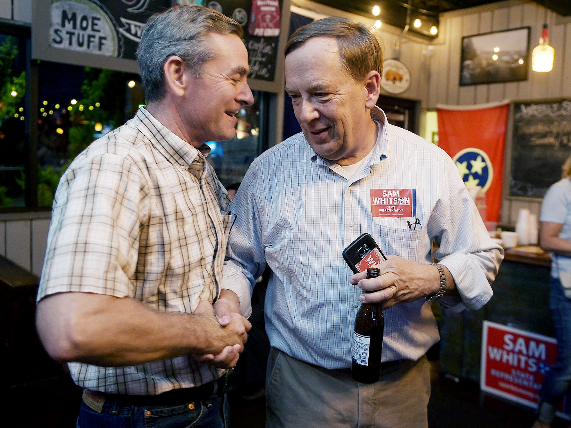 64th District House Republican Glen Casada, left, congratulates 65th District House Republican candidate Sam Whitson on election night in Franklin on Aug. 4, 2016.