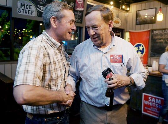 Glen Casada, left, congratulates Sam Whitson on election night in Franklin in 2016.