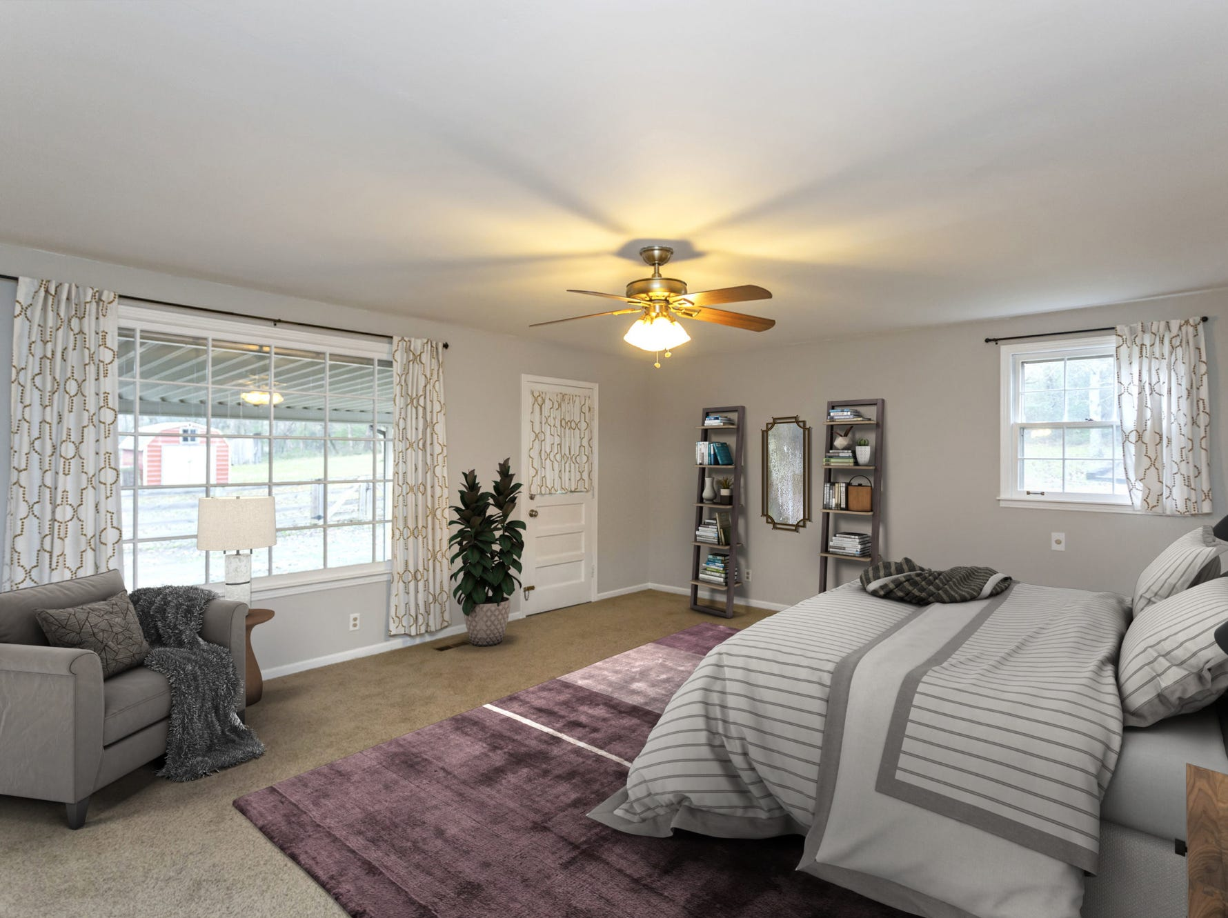 This photo shows the home's master bedroom after virtual staging software was used to furnish the room. This gives home buyers a look at the room with furnishings in it.