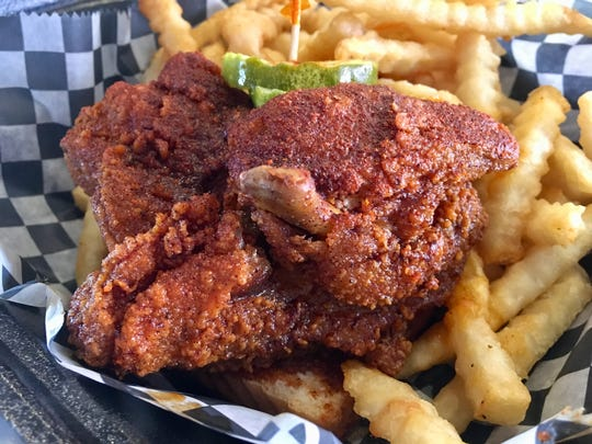 The hot chicken breast at Hattie B's in West Nashville, which The Tennessean's hot chicken tasters didn't find to be very hot.