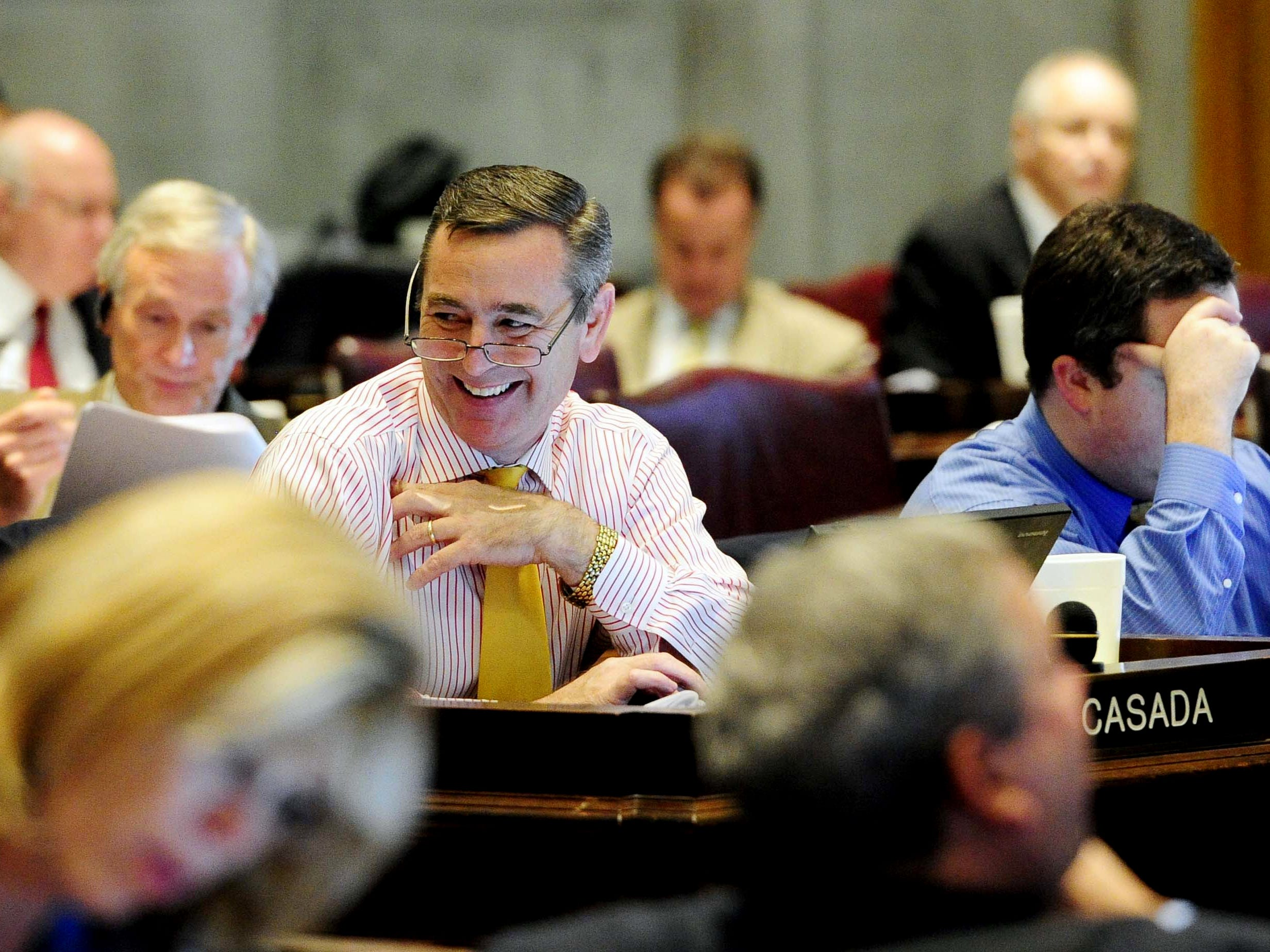 State Rep. Glen Casada smiles during the last day of the legislative session at the state Capitol on May 1, 2012.