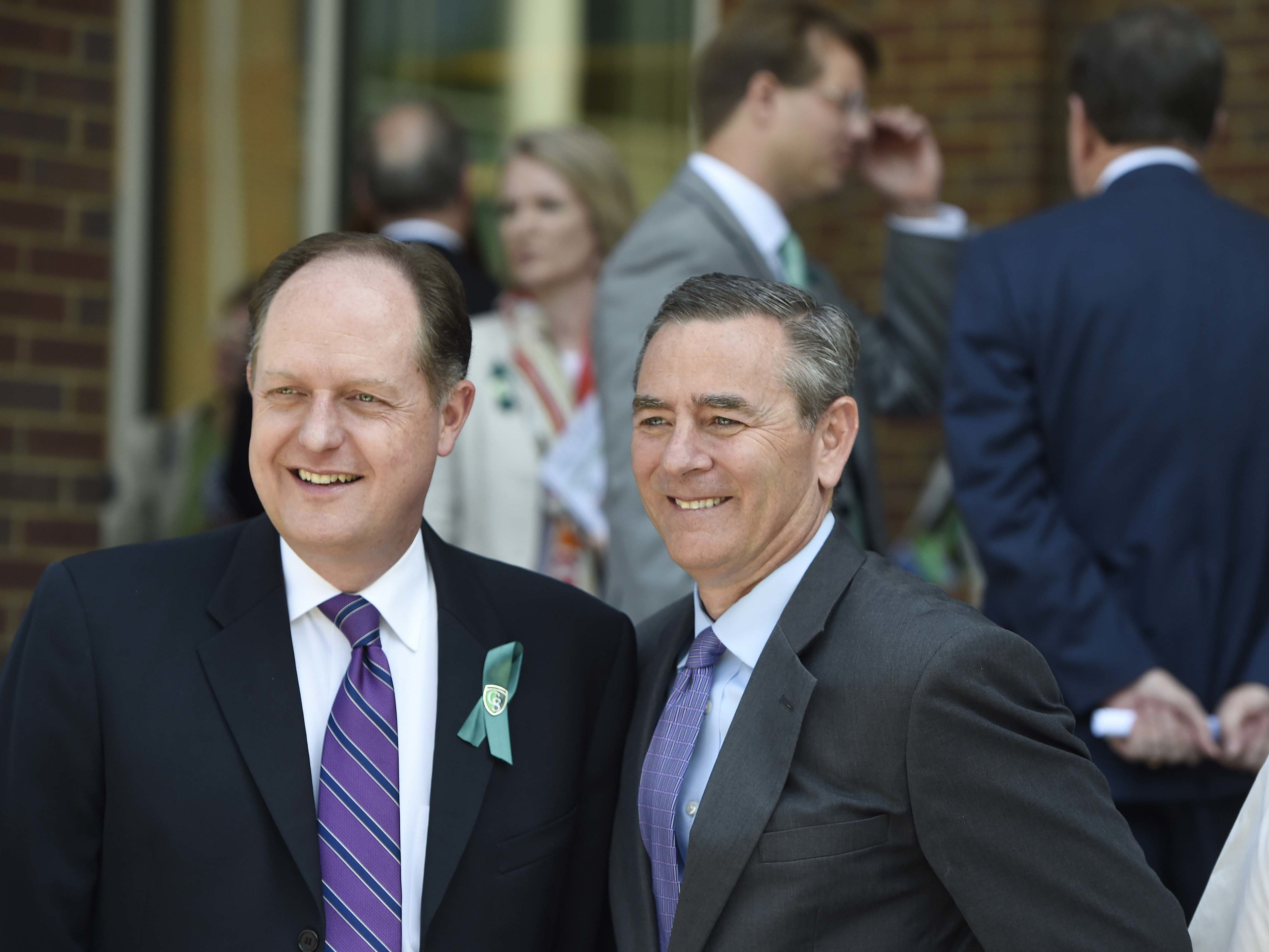 State Sen. Jack Johnson, left, and Rep. Glen Casada pose for a picture before the grand opening of Columbia State Community College's new Williamson campus June 22, 2016, in Franklin.