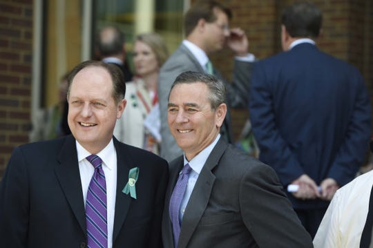State Sen. Jack Johnson, left, and House Speaker Glen Casada on the campus of Columbia State Community College in 2016.