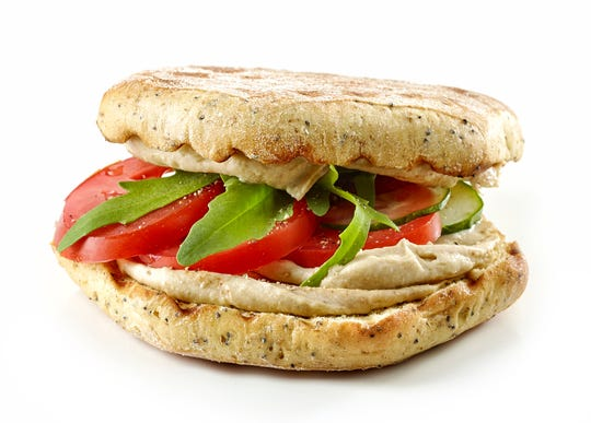 A hummus and vegetable sandwich is also a good lunch for kids.
