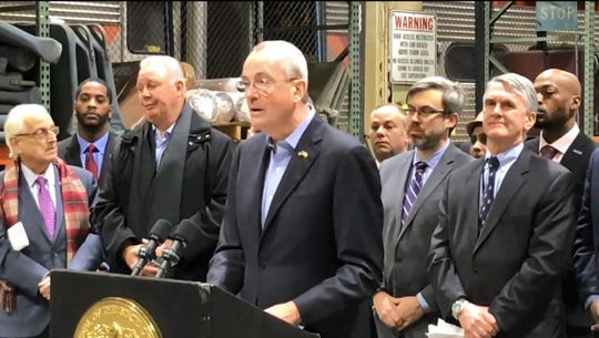 Phil Murphy said Chris Christie all but ignored a federal deadline to install a crash avoidance system on NJ Transit trains in a press conference on Monday, December 17, 2018.