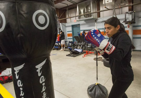 Ariana Carrasco, 15, works out at the Doña Ana Boxing Club.