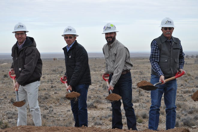 Carlsbad Water Board commissioner Russell Hardy, Carlsbad Mayor Dale Janway, Wes McSpadden, XTO Delaware Basin Production Superintendent, and Carlsbad Water Board commissioner Frank Beard Dec. 17 at the groundbreaking for Phase 3 of the Double Eagle water project.