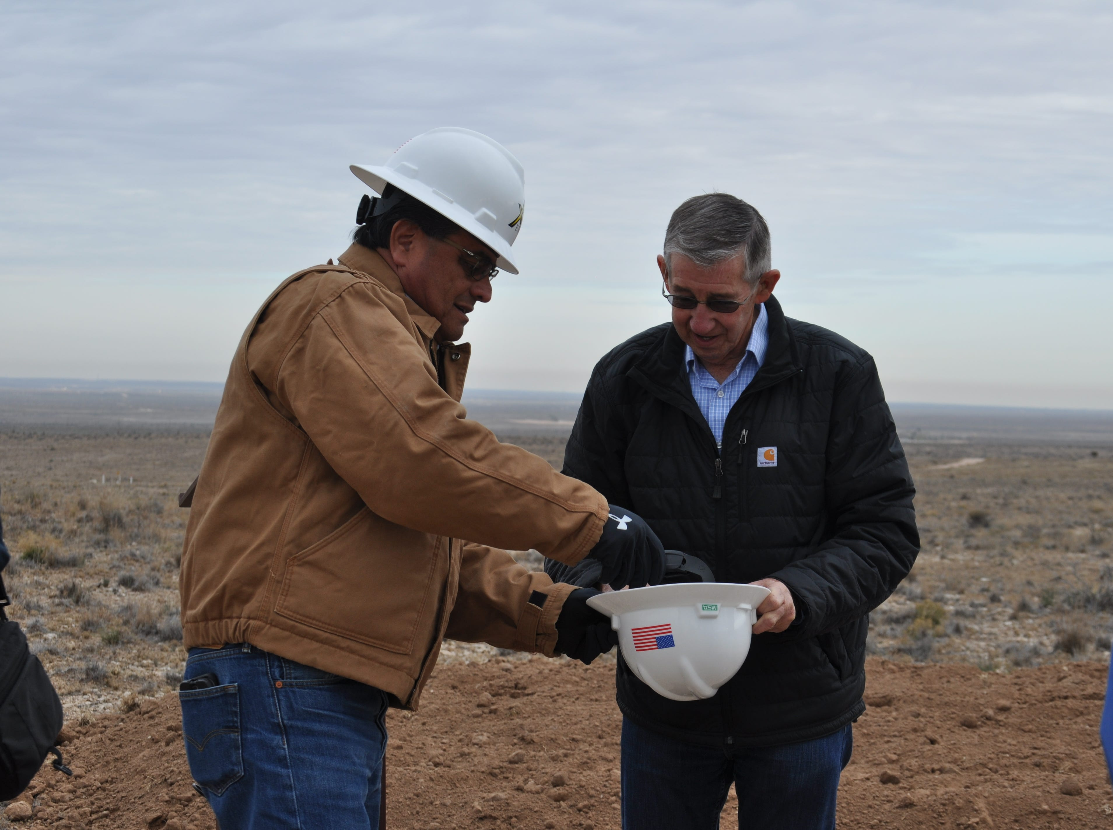 Carlsbad Mayor Pro Tem Eddie Rodriguez and Carlsbad Mayor Dale Janway Dec. 17 at the site of the Double Eagle water project in Carlsbad, New Mexico.