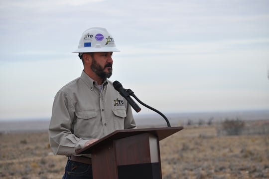 Wes McSpadden, XTO Delaware Basin Production Superintendent Dec. 17 at the site of $12 million investment to construct a 5 million gallon water tank and disinfection facility near Carlsbad, New Mexico. XTO Energy partnered with the City to move ahead of the project.