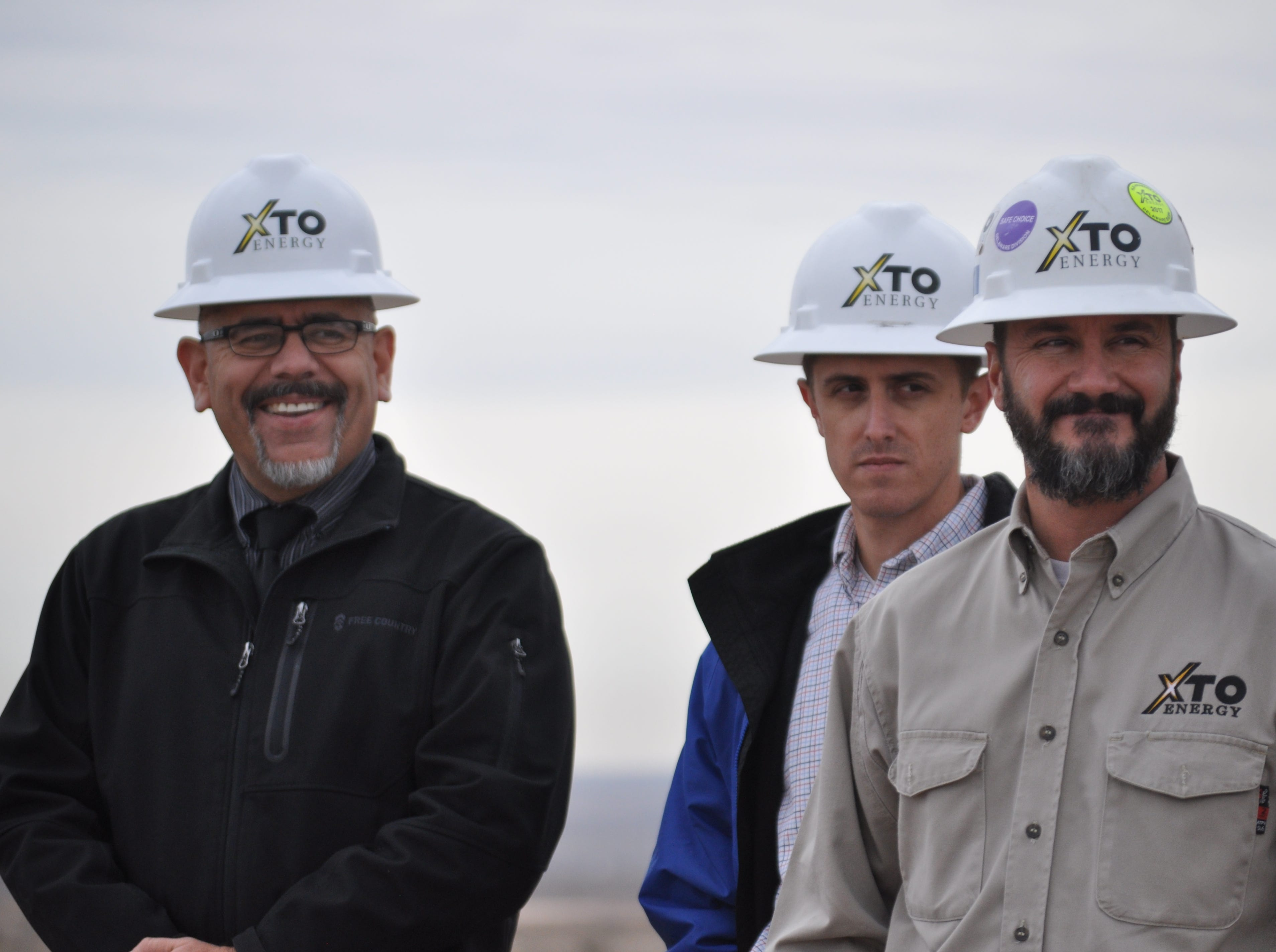 Carlsbad City Manager Mike Hernandez and Wes McSpadden, XTO Delaware Basin Production Superintendent Dec. 17 ahead of the ground breaking on a $12 million investment by the city and XTO Energy to build at 5 million gallon water tank and disinfection facility near Carlsbad, New Mexico.