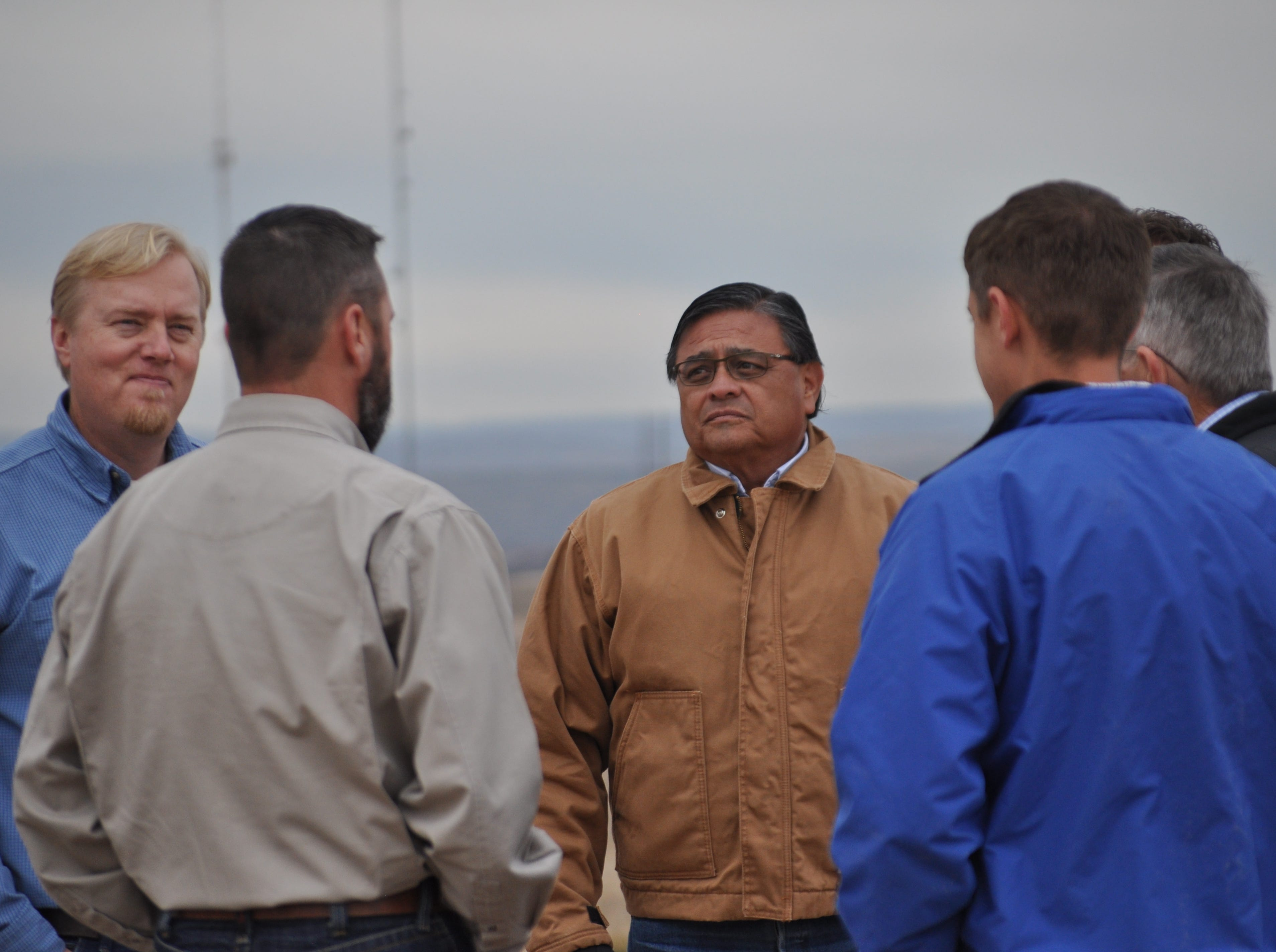Carlsbad Mayor Pro Tem Eddie Rodriguez, center, Dec. 17 at the site of the Double Eagle Phase 3 project in Carlsbad, New Mexico.