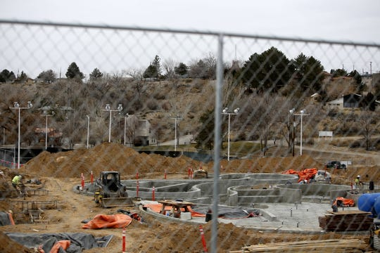 Construction continues at the future Bisti Bay Water Park Dec. 17 in Farmington's Brookside Park. The facility is scheduled to open in May 2019.