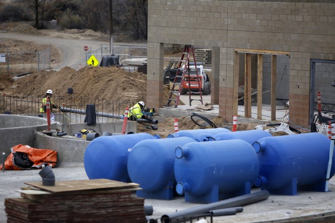 Construction continues at the future Bisti Bay Water Park Monday in Farmington's Brookside Park.