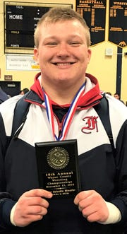 Franklin junior heavyweight Jake Swirple was the Upper Weights MVP at the Wayne County Championship.