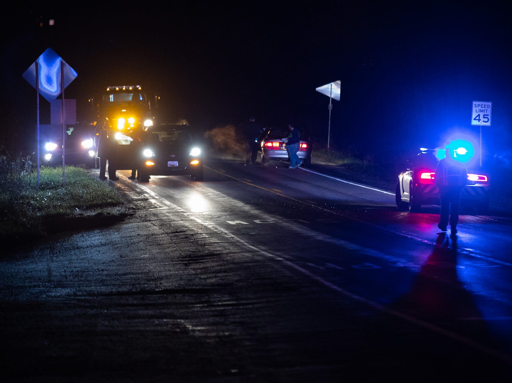 Emergency personnel work at the scene of a critical pedestrian struck near the intersection of Red Hill Rd. and Hanover St. in Oxford Township on Dec. 16.